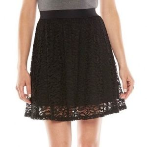 Black lace skater skirt Lauren Conrad XS